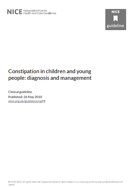 Constipation in children and young people: diagnosis and management image
