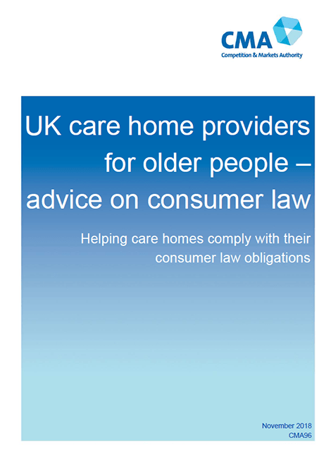 UK care home providers for older people - advice on consumer law: Helping care homes comply with their consumer law obligations image