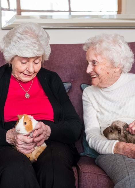 Two older ladies sitting on a sofa, both holding guinea pigs and smiling