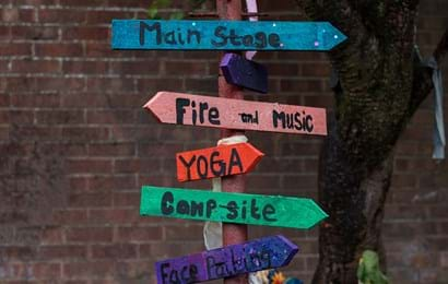 Coloured signposts providing directions to the main stage, fire and music, yoga, camp site and face painting