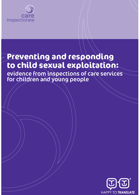 Preventing and responding to child sexual exploitation: evidence from inspections of care services for children and young people image