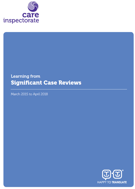 Learning from Significant Case Reviews March 2015 to April 2018 image