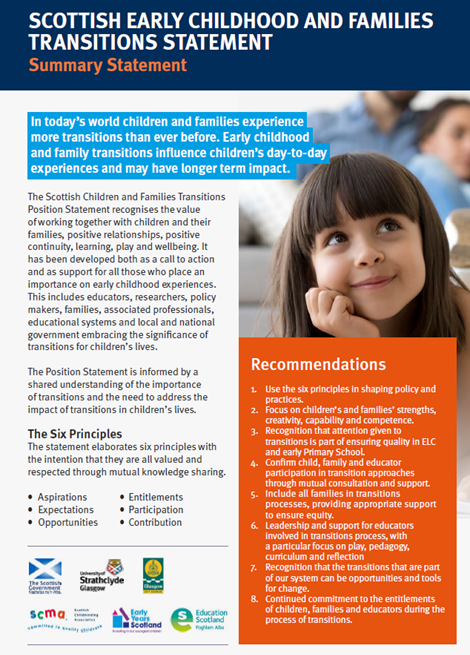 Scottish Early Childhood, Children and Families Transitions Statement: Summary Statement image