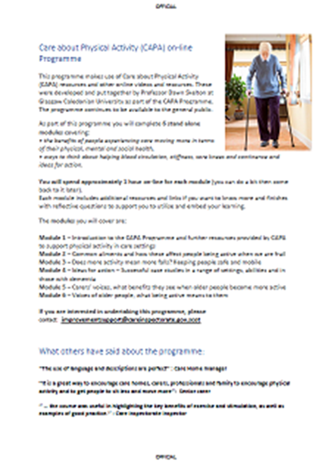 On-line course about the importance of movement for older people image